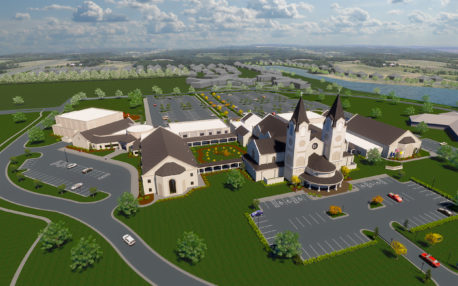 An artist's rendering of St. Catherine of Siena Catholic Church's completed campus, including new church building.